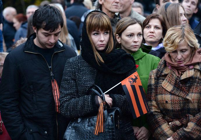 "Participants of a memorial rally ""Donetsk: Innocent victims"" held on Moscow's Poklonnaya Gora. (RIA Novosti/Mikhail Voskresenskiy)"