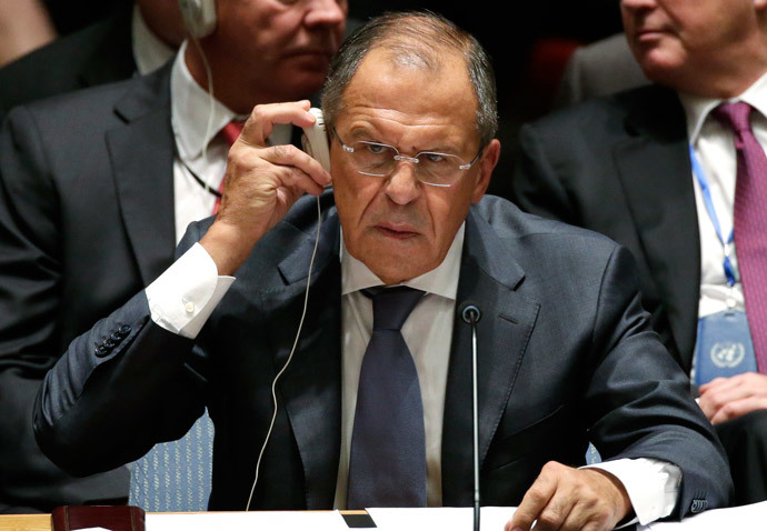 Russia's Foreign Minister Sergey Lavrov listens to a translation during a meeting of the United Nations Security Council at the 69th U.N. General Assembly in New York, September 24, 2014.(Reuters / Brendan McDermid)