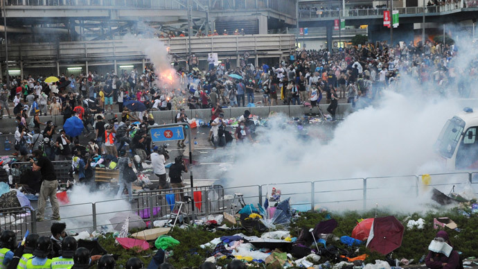 Teargas and pepper spray as thousands-strong Hong Kong protest turns violent