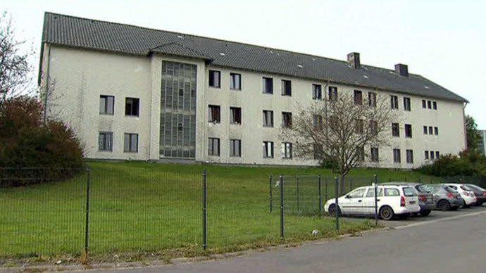 Shelter home in Burbach, Germany (screenshot from AP video)