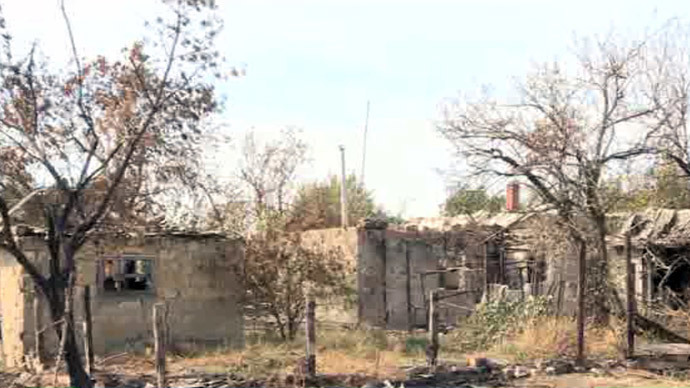 Khryashchevatoe village, Lugansk region.(Screenshot from RT video)