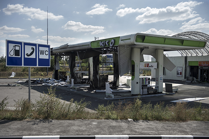 A gas station damaged by shelling in the Lugansk region. (RIA Novosti / Evgeny Biyatov)