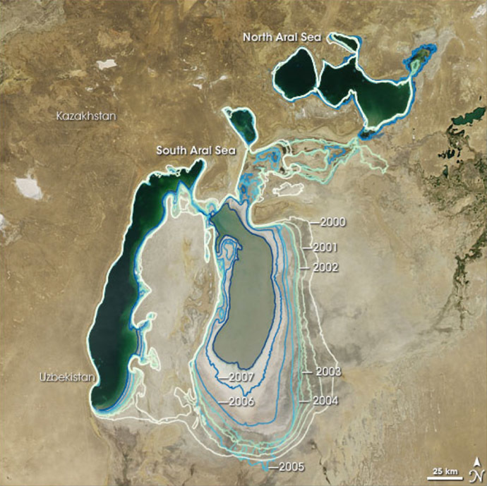 O Mar de Aral em 2000-2008 (NASA Earth Observatory)