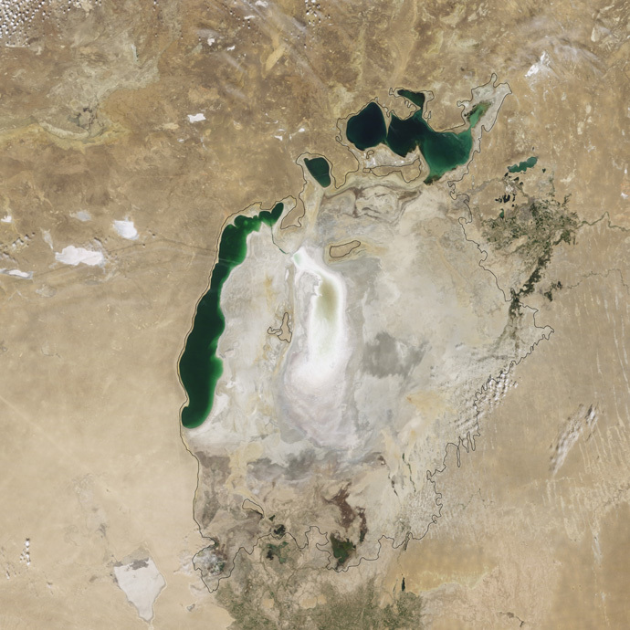 The Aral Sea in 2009 (NASA Earth Observatory)