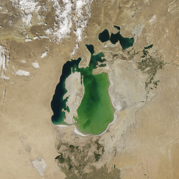 The Aral Sea in 2000 (NASA Earth Observatory)