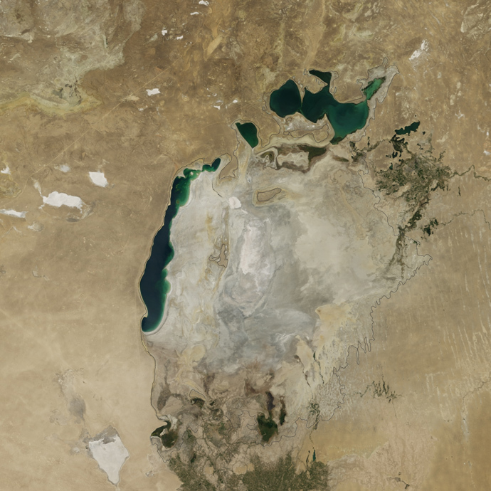 The Aral Sea in 2014 (NASA Earth Observatory)