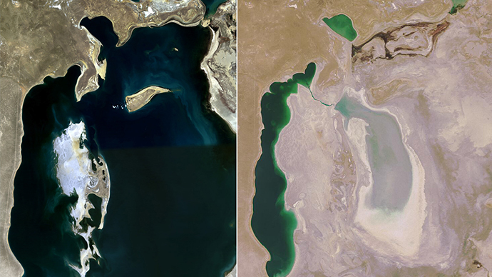 Shocking NASA pics show Aral Sea basin now completely dry