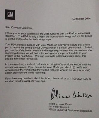 General Motors letter to customers about Valet Mode (General Motors)