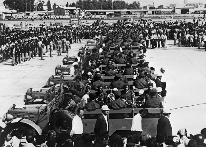 Coffins of Israeli olympic team victims of the Palestinian hostage-taking are transported on military vehicules at Lof airport, Israel, 08 September 1972. (AFP Photo/Str)