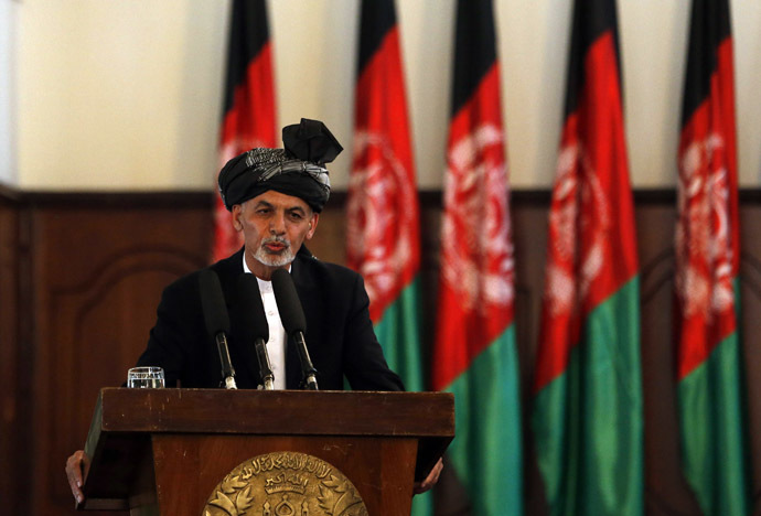 Afghanistan's new President Ashraf Ghani Ahmadzai speaks during his inauguration as president in Kabul September 29, 2014. (Reuters/Omar Sobhani)