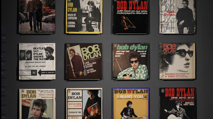 Covers of music record are displayed during the exhibition