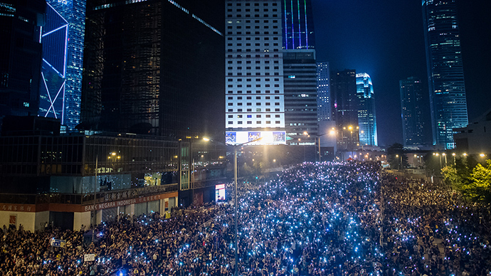 Tens of thousands up all night: Massive protests light up Hong Kong skyline (PHOTOS)