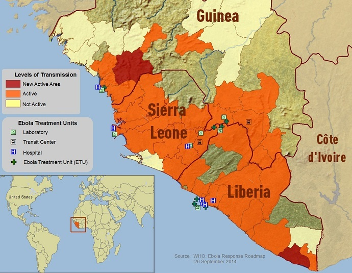 2014 Ebola Outbreak in West Africa - Outbreak Distribution Map (US Centers for Disease Control and Prevention)