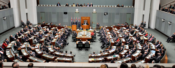 The Australian parliament in the House of Representatives chamber at Parliament House in Canberra (AFP Photo/Alan Porritt)