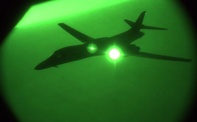This US Air Forces Central Command image from video shows US Air Force B-1B Lancer after refueling in the US Central Command area of responsibility prior to strike operations in Syria on September 27, 2014. (AFP Photo/US Air Forces Central Command)