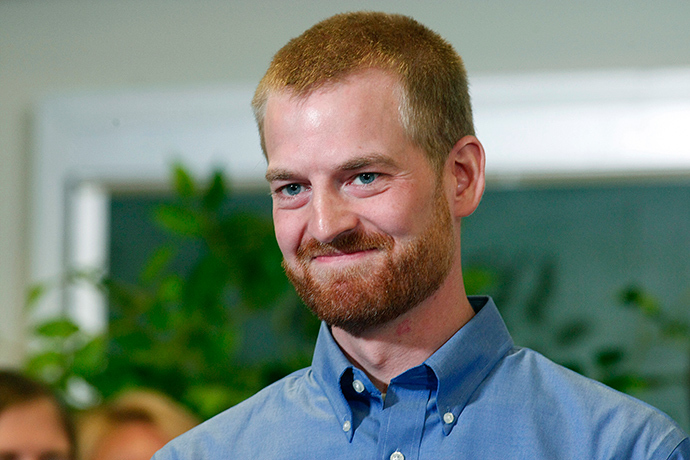 Kevin Brantly, who contracted the deadly Ebola virus, smiles during a press conference at Emory University Hospital in Atlanta, Georgia August 21, 2014 (Reuters)
