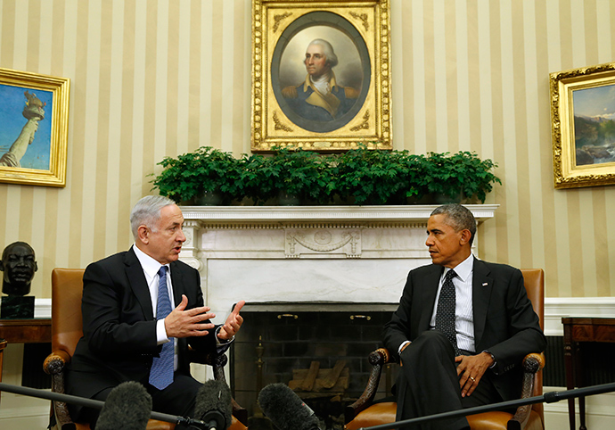 U.S. President Barack Obama (R) meets with Israel's Prime Minister Benjamin Netanyahu at the White House in Washington October 1, 2014 (Reuters / Kevin Lamarque)