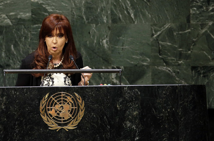 Argentina's President Cristina Fernandez de Kirchner addresses the 69th United Nations General Assembly at U.N. headquarters in New York, September 24, 2014. (Reuters/Mike Segar)