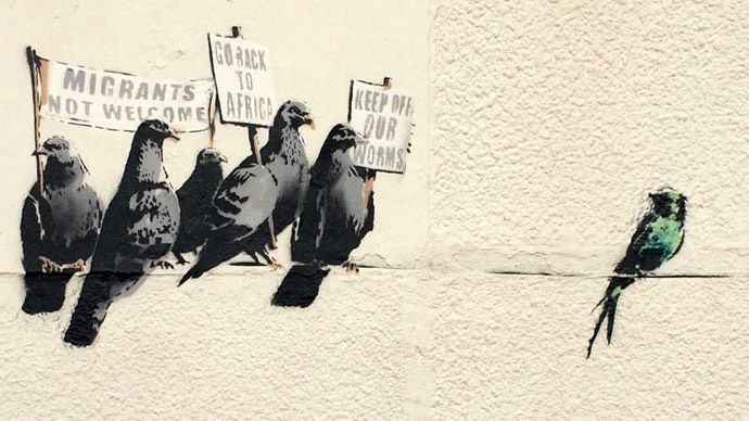Banksy's ironic 'protesting birds' art piece erased as 'offensive and racist'