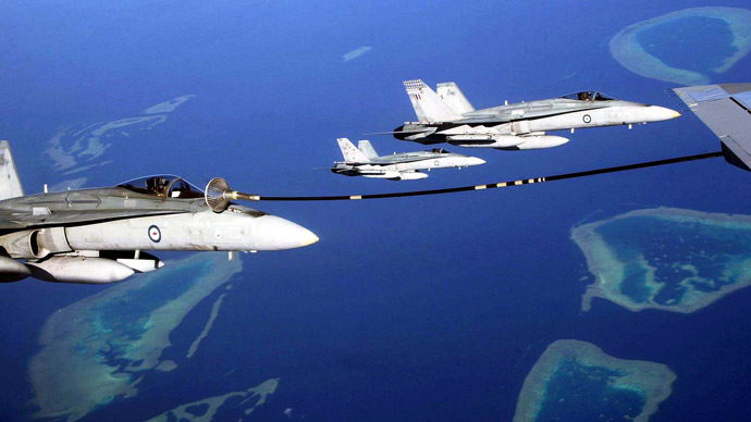 Three F/A-18 fighter aircrafts from the Royal Australian Air Force. (Reuters)