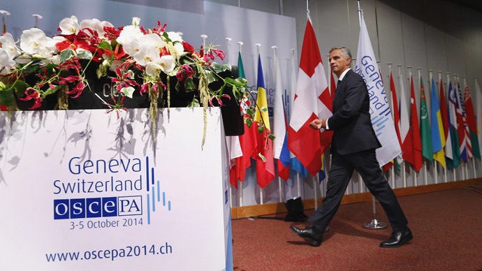 Swiss President Didier Burkhalter arrives at the OSCE Parliamentary Assembly Autumn meeting in Geneva October 3, 2014. (Reuters/Denis Balibouse)