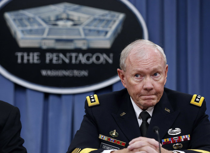 Chairman of the Joint Chiefs of Staff Gen. Martin Dempsey participates in a press briefing at the Pentagon in Washington, September 26, 2014. (Reuters/Larry Downing )