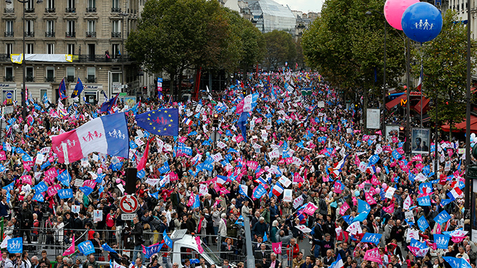 Tens of thousands rally in France against IVF, surrogacy for same-sex families
