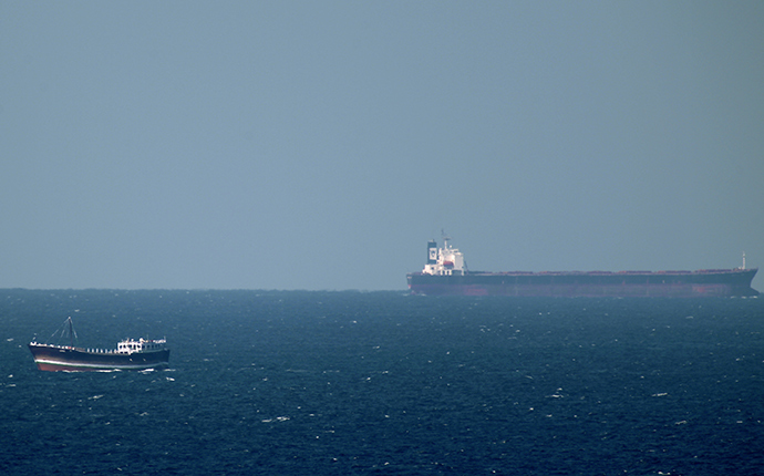 An oil tanker cruises towards the Strait of Hormuz (AFP Photo)