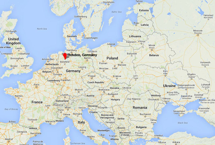 The location of Gazprom's new 4.2 bcm natural gas storage facility in Rehden, Gemany. (Google Maps)