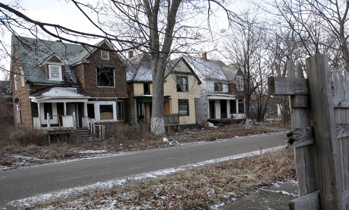 A row of vacant and blighted houses are seen in a once vibrant east side neighborhood in Detroit, Michigan January 22, 2013. (Reuters/Rebecca Cook)