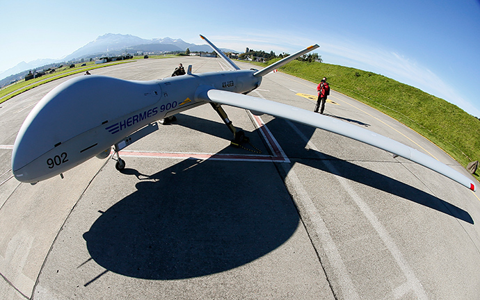 An Israeli Elbit Systems Ltd. Hermes 900 unmanned aerial vehicle (UAV). (Reuters / Pascal Lauener)