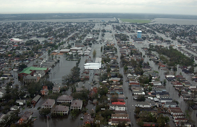 Flooded roadways can be seen as the Coast Guard conducts initial Hurricane Katrina damage assessment in New Orleans (Reuters / Kyle Niemi)