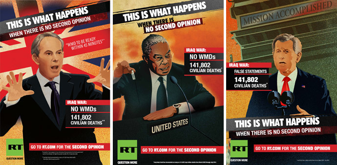 """Images of RT's 2014 """"Second Opinion"""" ad campaign"""