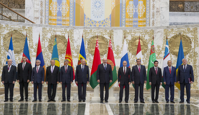 Russian President Vladimir Putin in Minsk, Belarus with leaders from the Commonwealth of Independent States. Reuters/Vasily Fedosenko