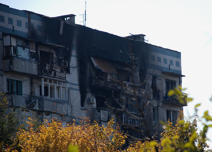 A residential building near Donetsk airport. (Reuters/Gennady Dubovoy)