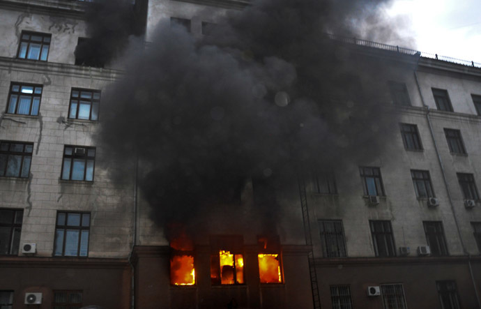 Fire at the Trade Union House in Odessa on May 2.(RIA Novosti/Maxim Voitenko)