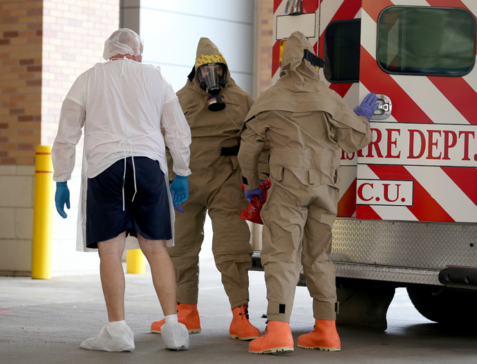 A possible Ebola patient is brought to the Texas Health Presbyterian Hospital on October 8, 2014 in Dallas, Texas. Thomas Eric Duncan, the first confirmed Ebola virus patient in the U.S., died earlier that day. (Joe Raedle / Getty Images / AFP)