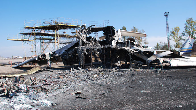 A burned plane at Donetsk airport.(RIA Novosti / Gennady Dubovoy)