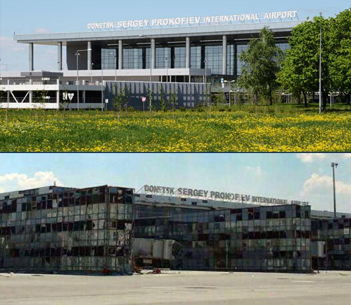 RIA Novosti / Natalia Seliverstova,Donetsk International Airport. Image from Facebook by Vyacheslav Gumennuy