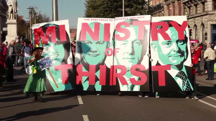 Dublin gridlocked as 50,000 Irish protesters oppose 'Ministry of Thirst' water charges