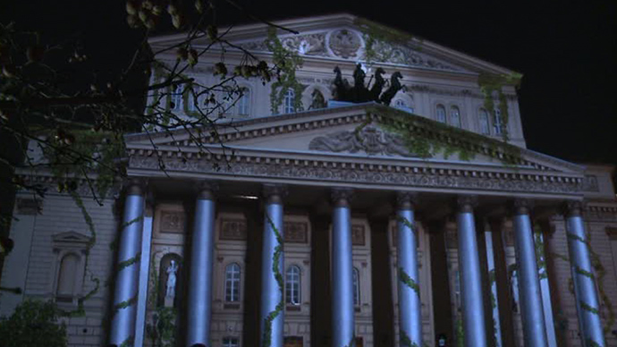 Around the World, a light projectin show on the facade of the Bolshoi Theatre in Moscow (RIA Novosti / Evgeny Biyatov)