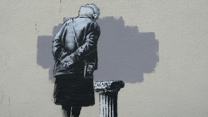 ​Scrotally unacceptable! Banksy mural defaced by crude phallic doodle  (NSFW)