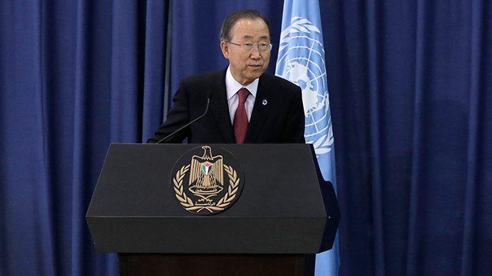 United Nations Secretary-General Ban Ki-moon hold a news conference in the West Bank city of Ramallah October 13, 2014 (Reuters / Ammar Awad)