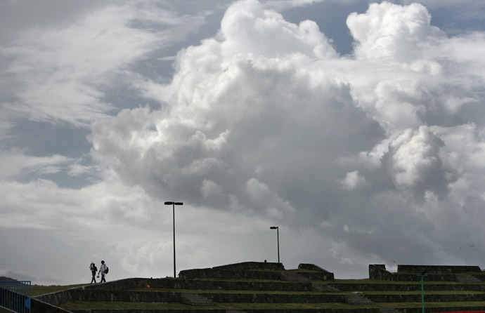Storm clouds hover in the distance in this view from Sir Vivian Richards Stadium, St. John's, Antigua (Reuters / Andy Clark)