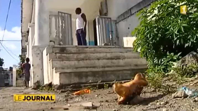 Pig's head left outside a mosque in the French territory of Mayotte. December, 2013. (Screenshot from RT report)