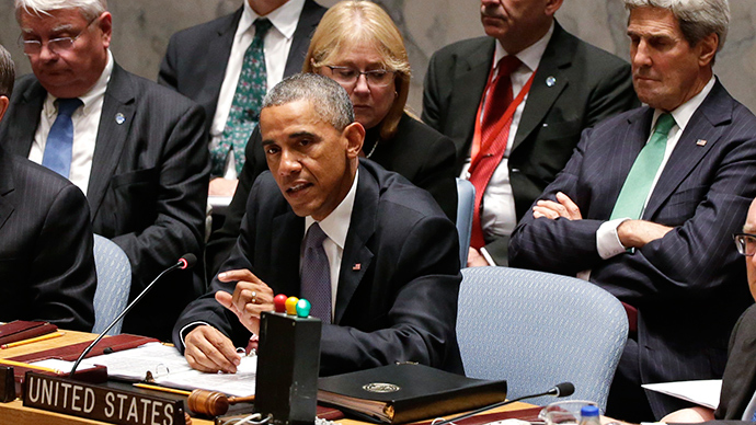 US President Barack Obama (C) speaks while chairing a meeting of the UN Security Council at the 69th United Nations General Assembly in New York, September 24, 2014 (Reuters / Brendan McDermid)