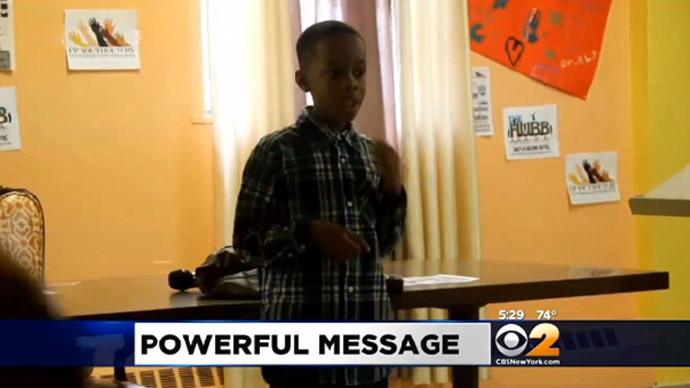 Third-grader's anti-violence speech interrupted by deadly gunfire