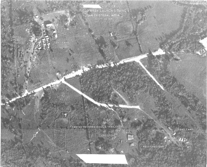 Soviet troop presence near missile positions in the San Cristobal area of Cuba during the Cuban Missile Crisis (Image from National Geospatial-Intelligence Agency)