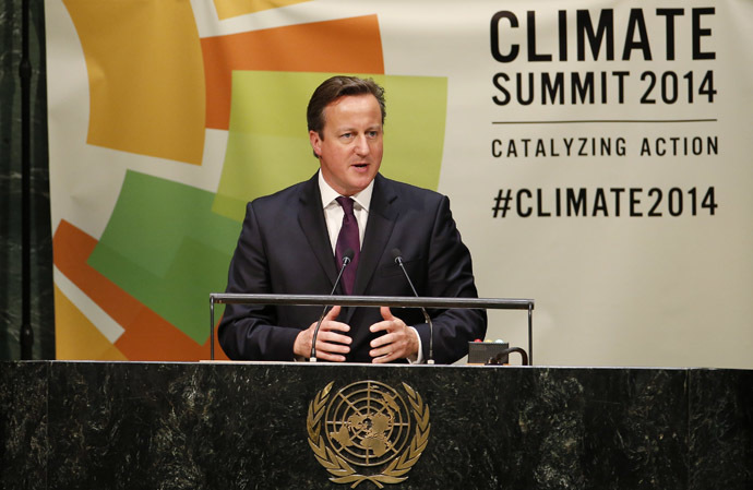 British Prime Minister David Cameron speaks during the Climate Summit at United Nations headquarters in New York, September 23, 2014. (Reuters/Mike Segar)