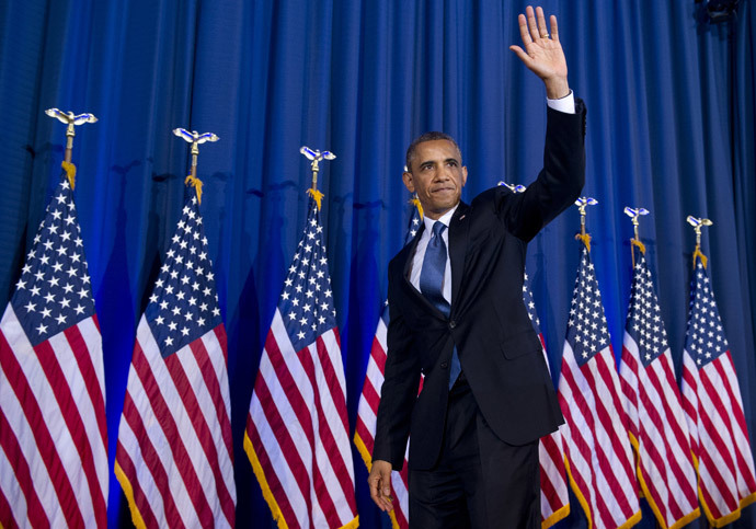 US President Barack Obama waves after speaking about his administration's drone and counterterrorism policies, as well as the military prison at Guantanamo Bay, at the National Defense University in Washington, DC (AFP Photo / Saul Loeb)